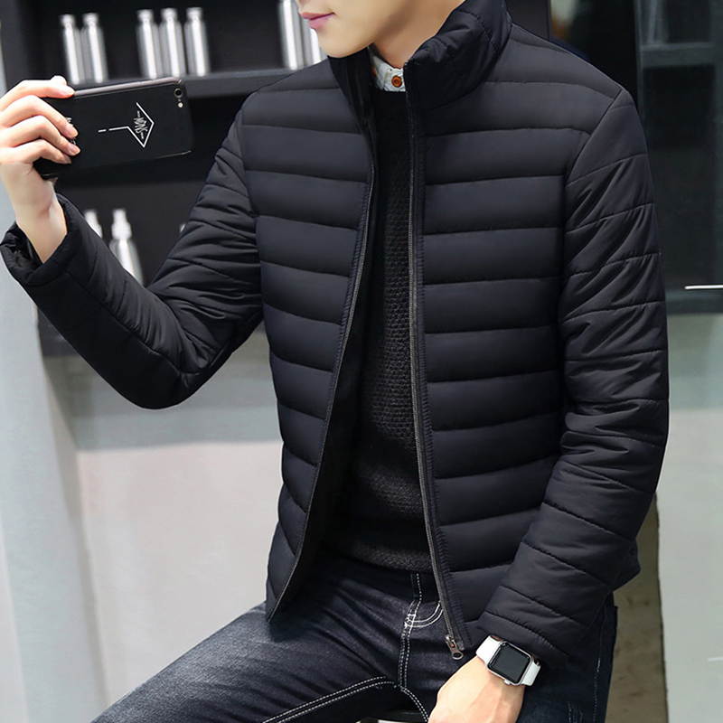 Bigsweety Winter Coat Men's Parkas Outerwear Casual Slim Stand Collar Zipper Parkas Men Cotton-Padded Jacekt Plus Size Coats