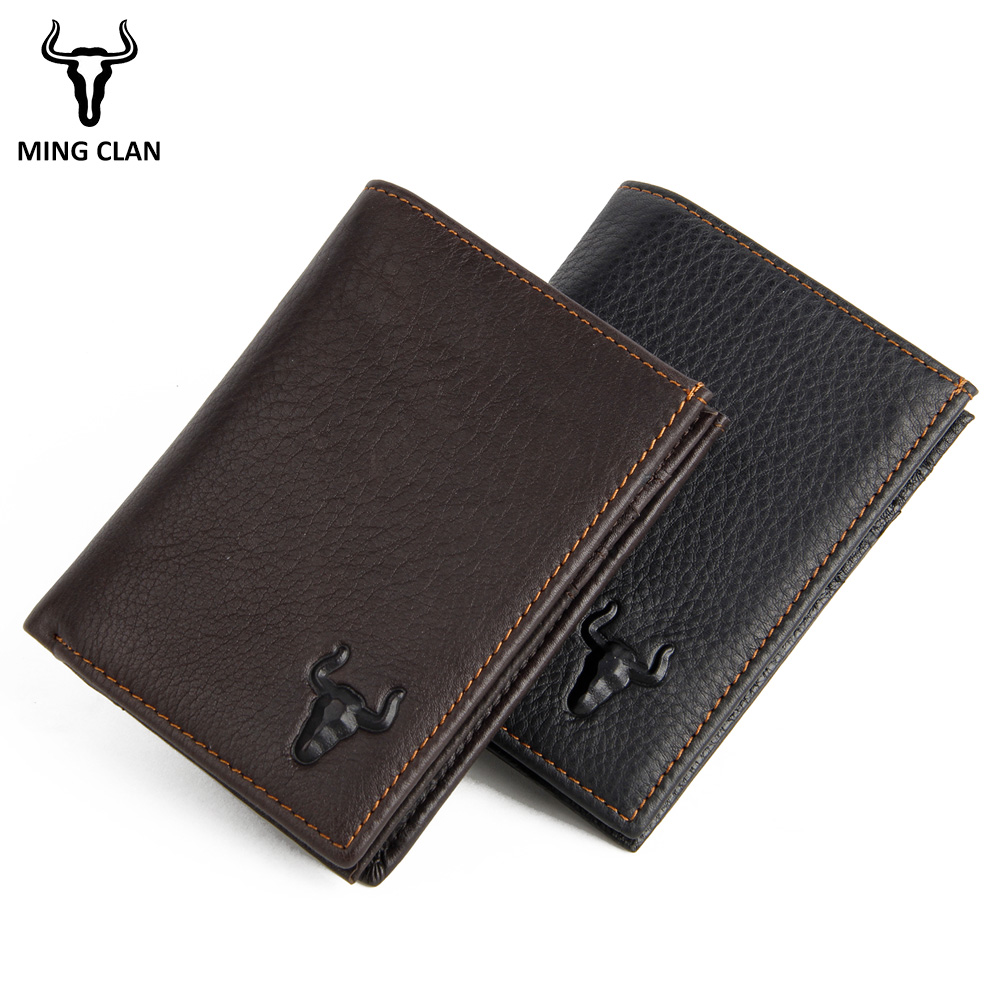 Mingclan Rfid Wallet Short Men Wallets Genuine Leather Male Purse Card Holder Wallet Fashion Zipper Wallet Coin Purse Pocket Bag