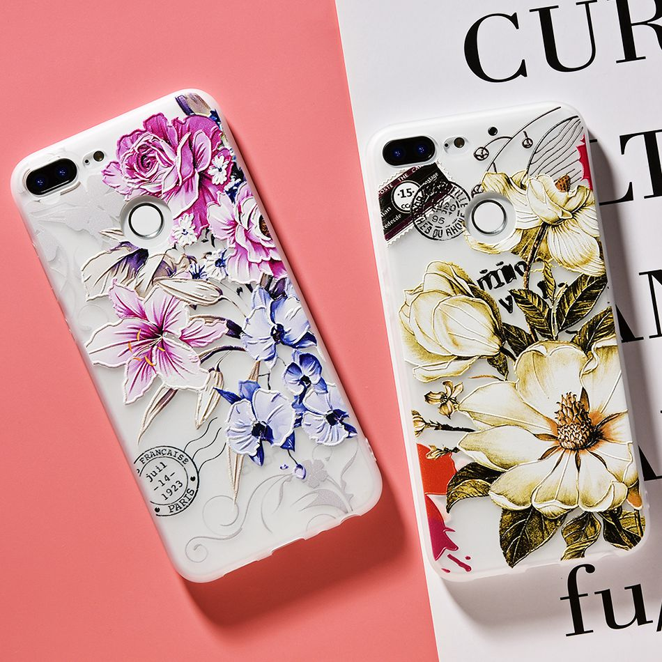 3D Relief Flower TPU Case For On Honor 9 9 lite Soft Silicone Case Back Cover Case for Huawei P20 P10 lite NOVA 2 Case           (12)