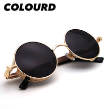 Round Sunglasses Vintage Goggles Metal-Frame Punk Colourd Gold Men Trending-Product