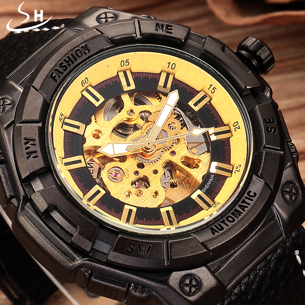 SHENHUA Automatic Mechanical Watch Men Watch Brand Retro Leather Vintage Luxury Bronze Sport Skeleton Watch Relogio Masculino coupon for wholesale buyer price good quality new bronze retro vintage classic arabic number mechanical pocket watch with chain