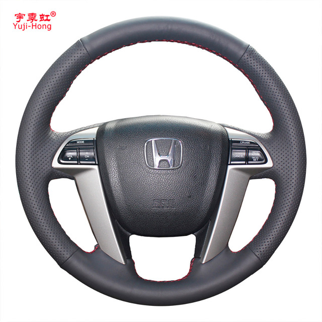 Yuji Hong Artificial Leather Car Steering Wheel Covers Case For Honda Accord 8 Crosstour Odyssey 2010 2017 Black Cover
