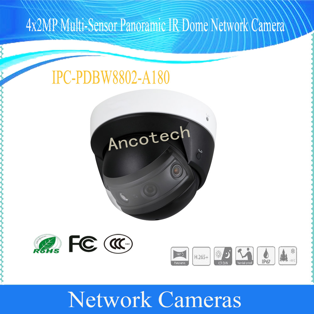 Free Shipping DAHUA Security IPC 4X2MP Multi-Sensor Panoramic IR Dome Network Camera POE+ IP67 Without Logo IPC-PDBW8802-A180 free shipping dahua cctv camera 4k 8mp wdr ir mini bullet network camera ip67 with poe without logo ipc hfw4831e se