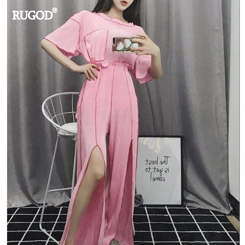RUGOD 2018 Off Shoulder Chiffon Blouse and Split Pants Suit Women Fashion Pockets Design ...