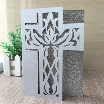 35pcs Laser Cut Cross Pattern Wedding Invitation Card Event&Party Supplies Easter Celebration Blessing Card