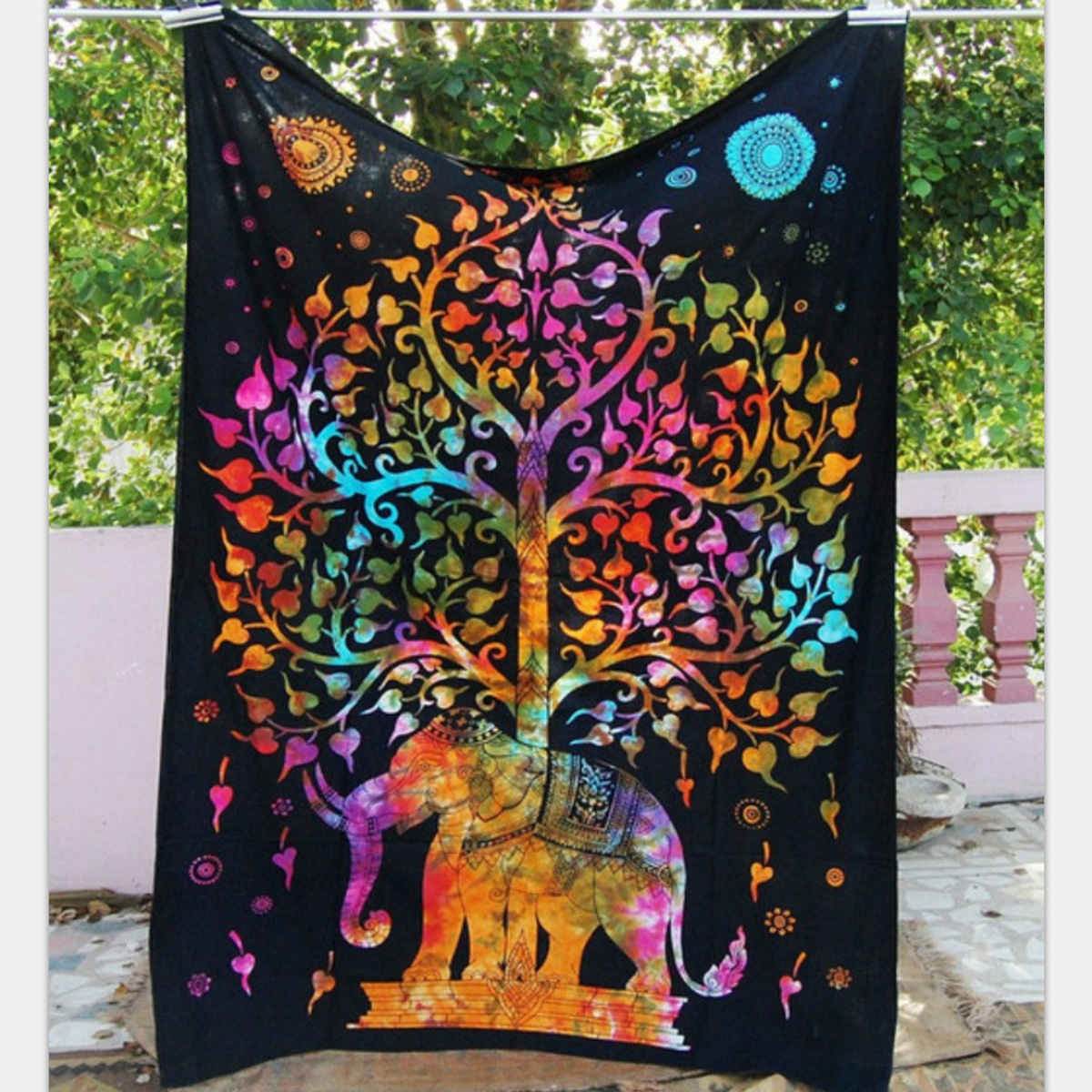 Elephant Mandala Tapestry Throw Towel Hippie Tapestry Floral Printed Home Decor Wall Tapestries Bedspread 210*150CM 28
