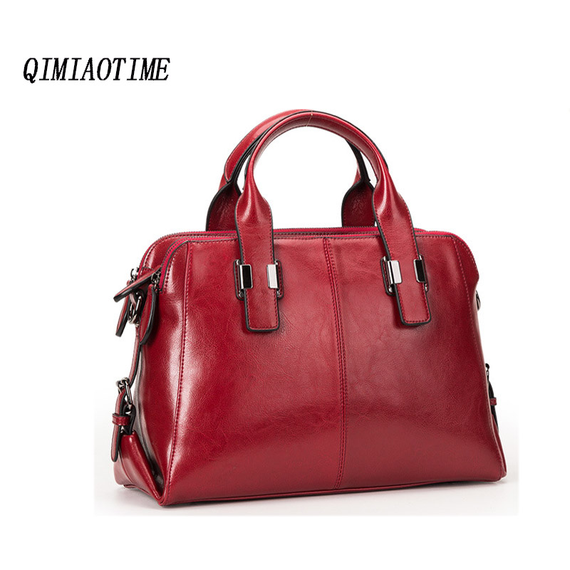 QIMIAOTIME 2018 New European And American Fashion Lady Simple Hand-Held Large Capacity Casual Leather Messenger Bag dreambox simple european and american sports leather retro style hand made coarse shoes casual shoes