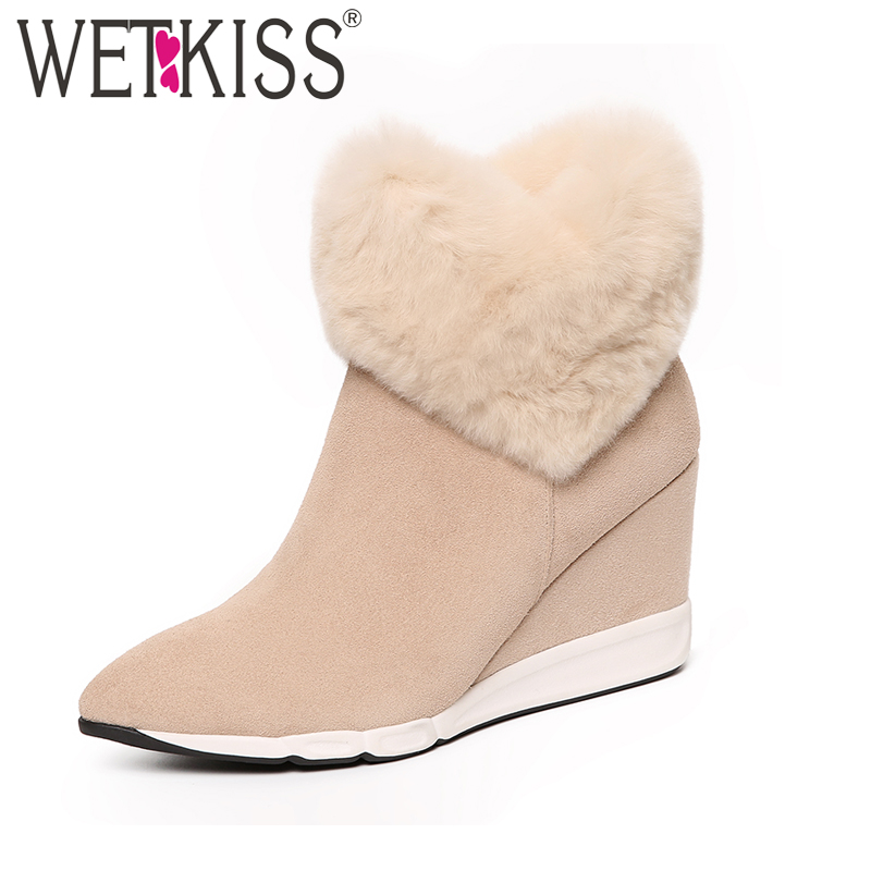WETKISS 2018 Warm Fur Shoes Woman Cow Suede Leather Zipper Ankle Boots Women Plush Winter Boots Pointed toe Wedges Shoe Footwear