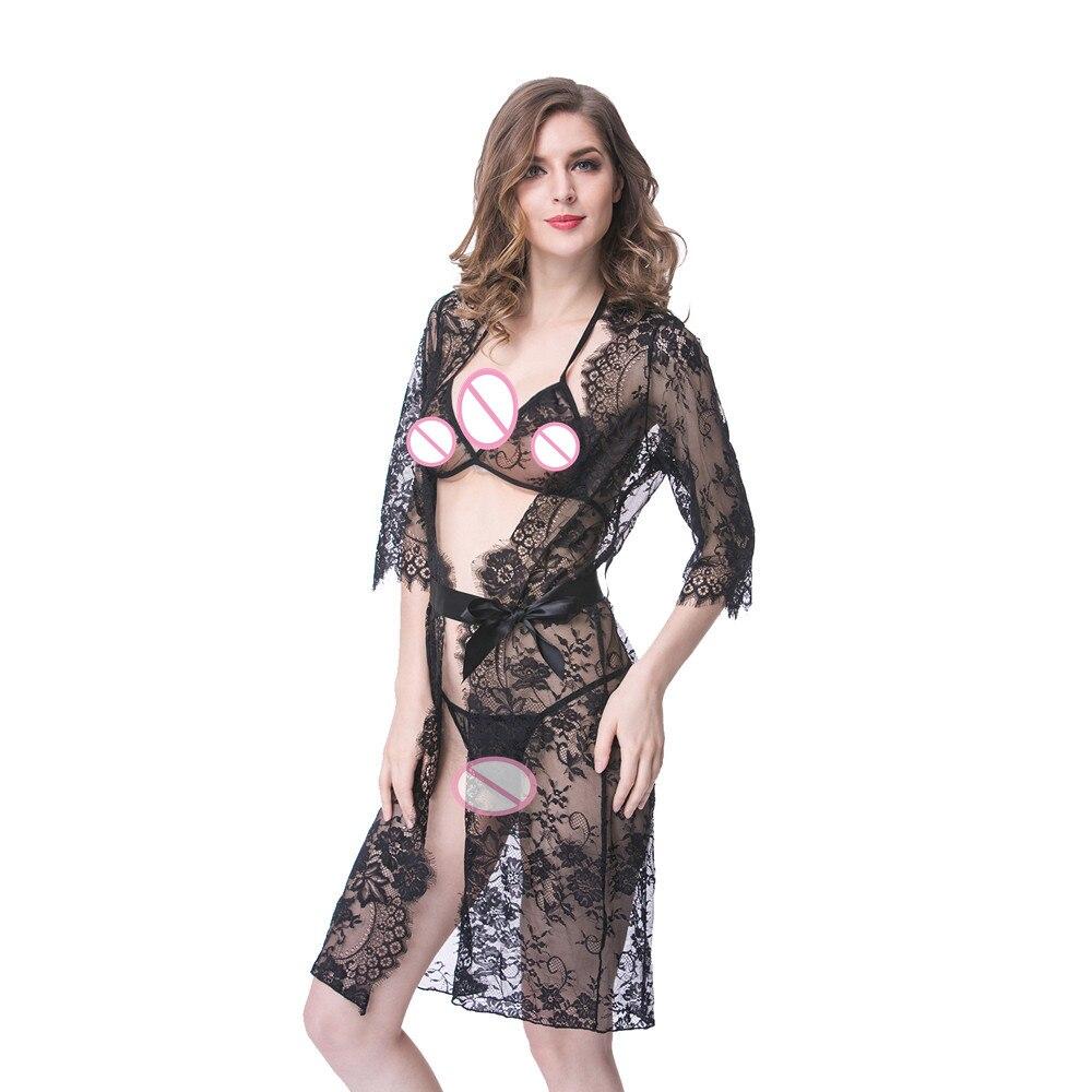 Woman Sexy Bathrobe Lace Perspective Sexy Lingerie Babydolls Erotic Sleepwear Nightdress Sexy Underwear Nightgown Black