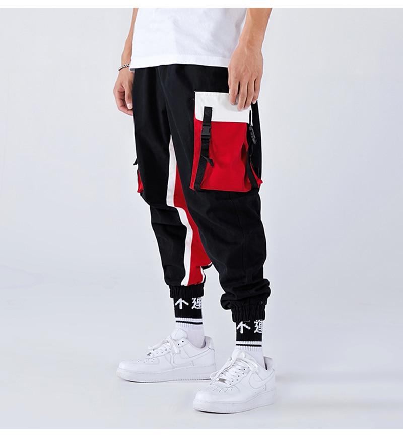Aolamegs Men Side Strip Track Pants Pocket Pants Men Elastic Waist Sweatpants Casual Streetwear Hip Hop Men High Street Pants (14)