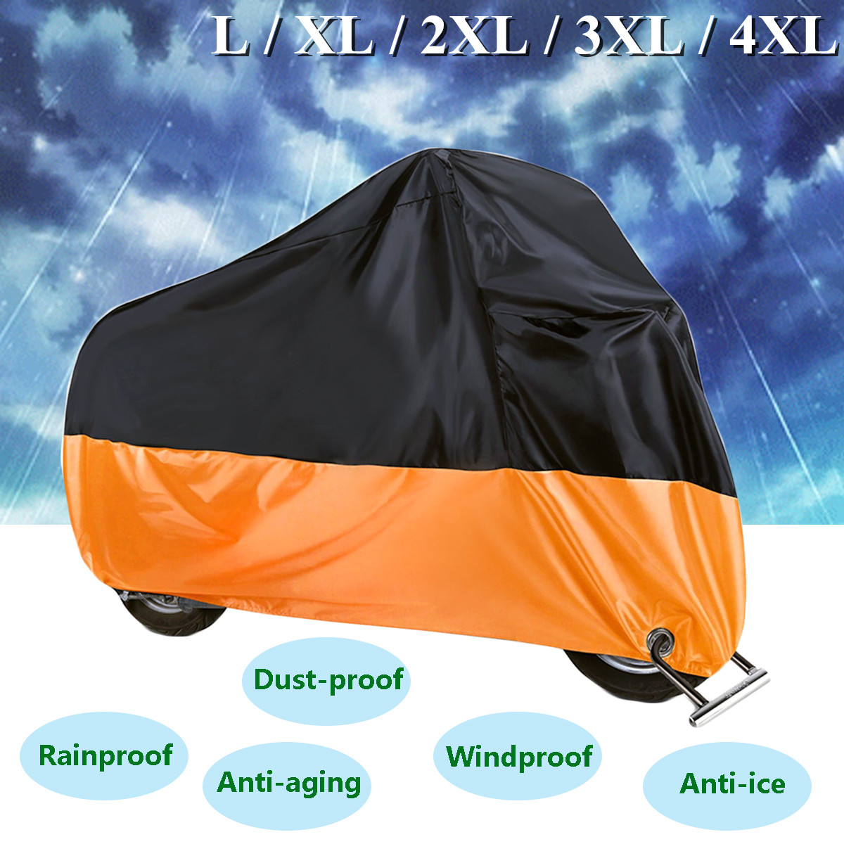 190T Waterproof Motorcycle Cover Case Outdoor Protect Rain Dust UV Motorbike Protector L/XL/2XL/3XL/4XL Elastic Hem Side Squeeze 2xl 3xl