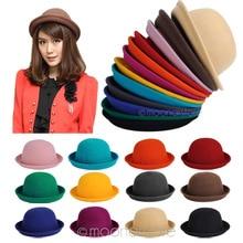 New Woman Hats Fedoras Vintage Fedora Chapeau Feutre Winter felt Sombreros  de fieltro Solid Fedoras Hats. 12 Colors Available dedefb5e0b0d
