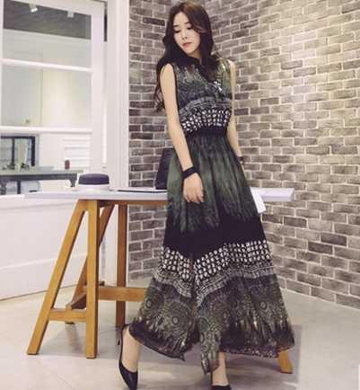 32d84187798 ... Плюс большие размеры женская одежда платье 2017 Летний стиль корейский  богемное пляжное вечернее платье женские ретро ...