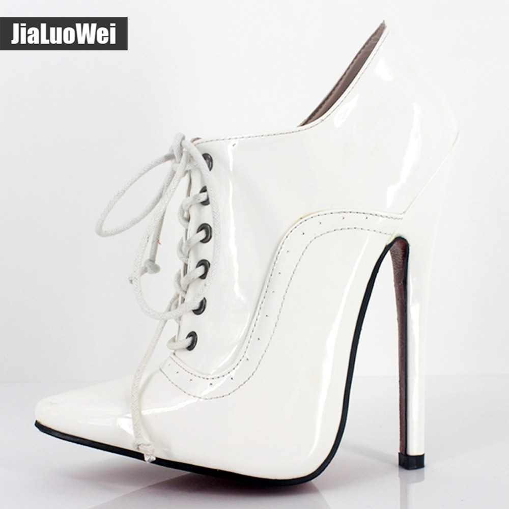 Women 18cm/7 Extreme High Heel Sexy Fetish Pointed Toe stiletto Shoes Lace-up Oxfords Leather Office Career party Lady Pumps new extreme high heel 20cm heel pointed toe sexy patent leather heel needle metallic sexy fetish inseam boots a 027