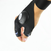 Free Shipping Outdoor font b Fishing b font Magic Strap Fingerless Glove with LED Flashlight Torch