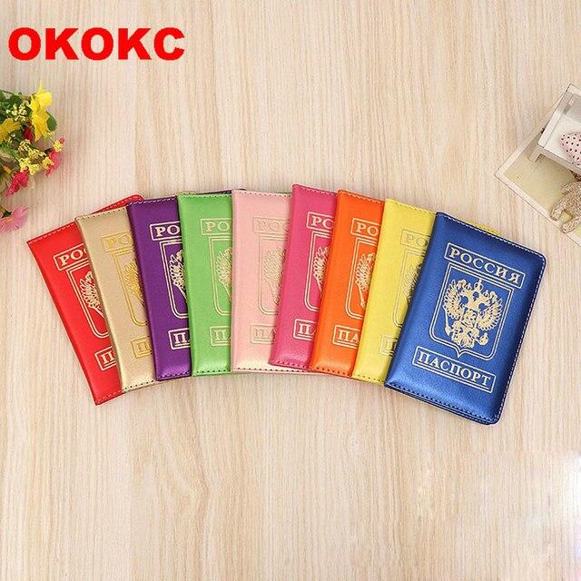 255fd346b2660 OKOKC Pu Deri Rus Pasaport Kapağı Sevimli Seyahat Pasaport Tutucu üzerinde  Marka Kızlar Seyahat Aksesuarları Kapakları