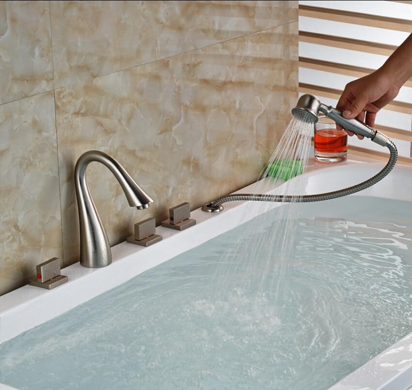 2016 NEW Deck Mount Widespread Bathroom Roman Tub Faucet 5 Holes Tub ...