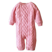 New O Neck Warm Jumpsuit Red Overalls Tee Solid Thick Cotton Winter Autumn Baby Rompers Newborn