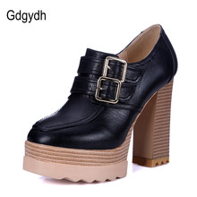 Gdgydh 2018 New Spring Autumn Thick High Heeled Pumps Woman Round Toe Lacing Female Platform Shoes Casual Office Lady Shoes 42