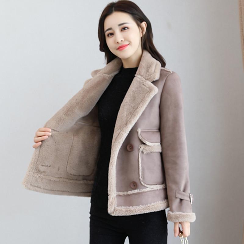 2018 mode épaissir les vestes de coton chaud pour les femmes Double boutonnage femmes Deerskin vestes hiver filles court manteau d'agneau FP1381