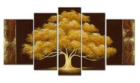 Free Shipping High Quality 5 Pieces Golden Trees Landscape Oil Painting Handpainted Wall Art No Frame