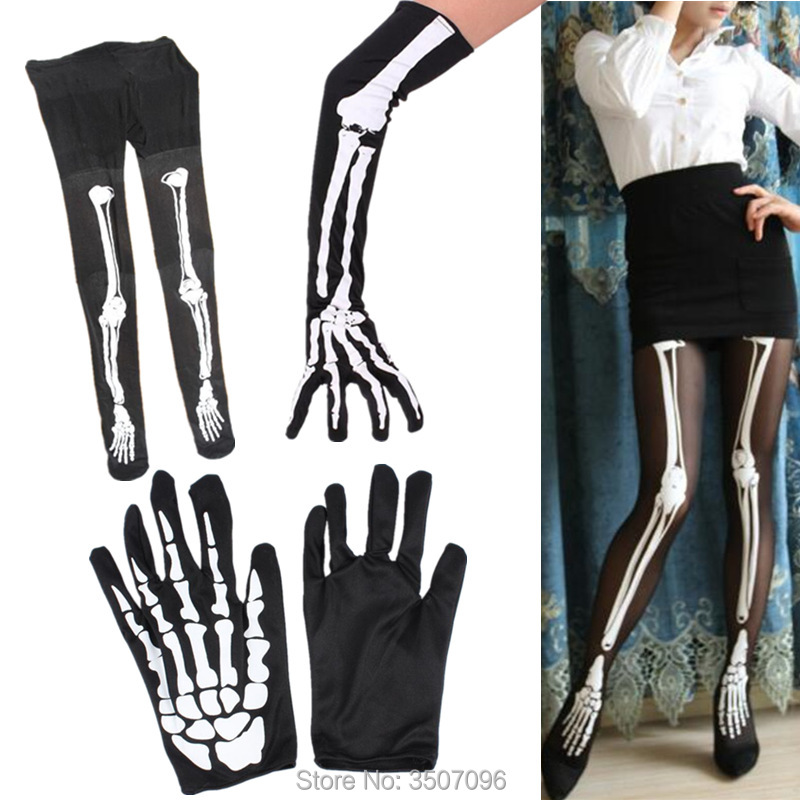 Unisex Halloween Cosplay Skull Skeleton Bone Gloves Thigh Stocking Socks Women Party Cosplay Props Costume