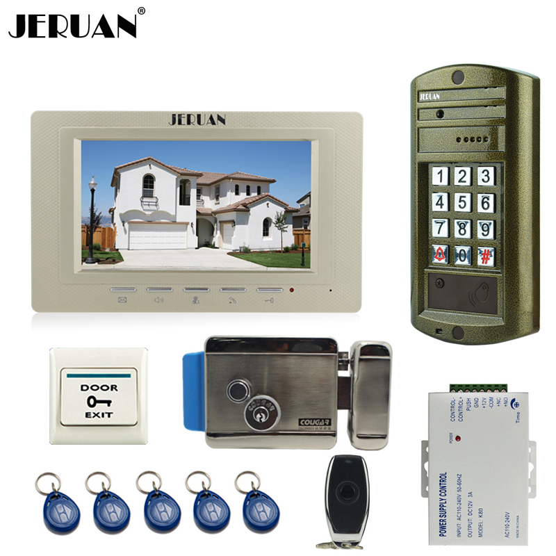 HOME NEW Metal waterproof password keypad HD Mini Camera 7`` video intercom door phone system kit + Electronic control lock