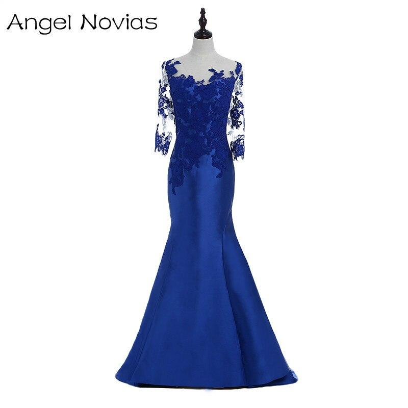 Long Sleeve Mermaid Satin Evening Dresses 2018 Royal Blue Long Prom Dress Vestidos Largos De Noche