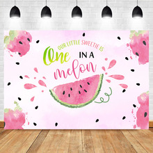 NeoBack Pink Sweet Melon Girl Summer First Birthday Photo Background Photophone custom seeds Party Backdrop