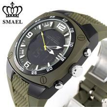 Smael 1008 marca de lujo reloj militar hombres deportes relojes led digital relojes de pulsera de cuarzo correa de caucho reloj del relogio masculino,