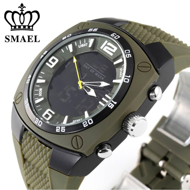 Prix pour SMAEL 1008 Marque De Luxe Horloge Hommes Militaires Sport Montres Numérique LED Quartz Montres Bracelet En Caoutchouc Relogio Masculino Montre,