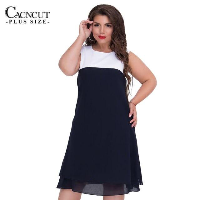 COCOEPPS летнее Элегантное платье без рукавов большого размера шифоновое платье для женщин 2018 повседневное свободное лоскутное офисное женское платье Vestidos 6XL