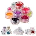 Hot Sale 12Pcs Nail Art Glitters Powder Set Nail Art Glitters Powder Caviar Beads Pearls Sparkles Set with box wholesale