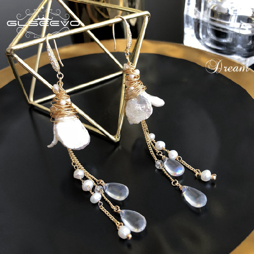 GLSEEVO Natural Fresh Water Baroque Pearl Crystal Dangle Earring Long Tassel Drop Earrings For Women Jewelry GE0484 best lady special design bohemian wedding natural fresh water pearls earring women fashion dangle jewelry multi color earrings
