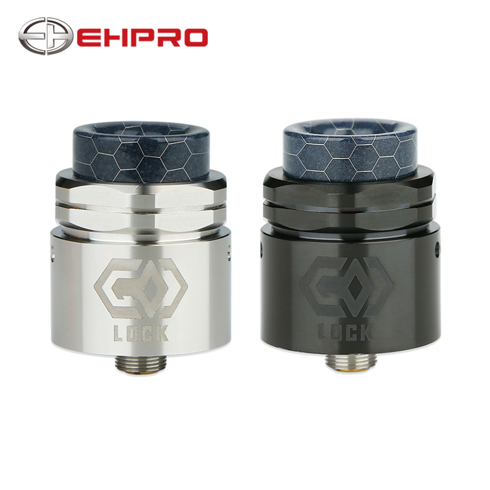 Ehpro Lock Build-free RDA 24mm Diameter Single Coil RDA with Nut-style Top Cap & 0.15ohm Notch Coil & 810 Drip Tip BF Pin RDA
