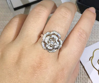 Pure 925 Sterling Silver Jewelry camellia ring For Women Wedding zircon party flower ring Silver luxury brand jewelry