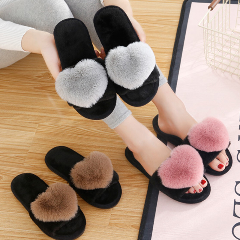 BODENSEE Furry Slippers Women Shoes Floor Bedroom Heart Winter Home Love No  title=