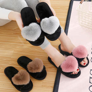BODENSEE Furry Slippers Women Shoes Floor Bedroom Heart Winter Home Love No