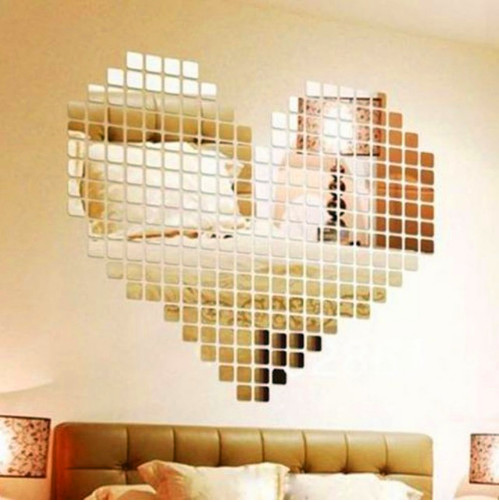100 Piece Self Adhesive Mirror Tile Wall Stickers Decals Mosaic Room Decoration Modern