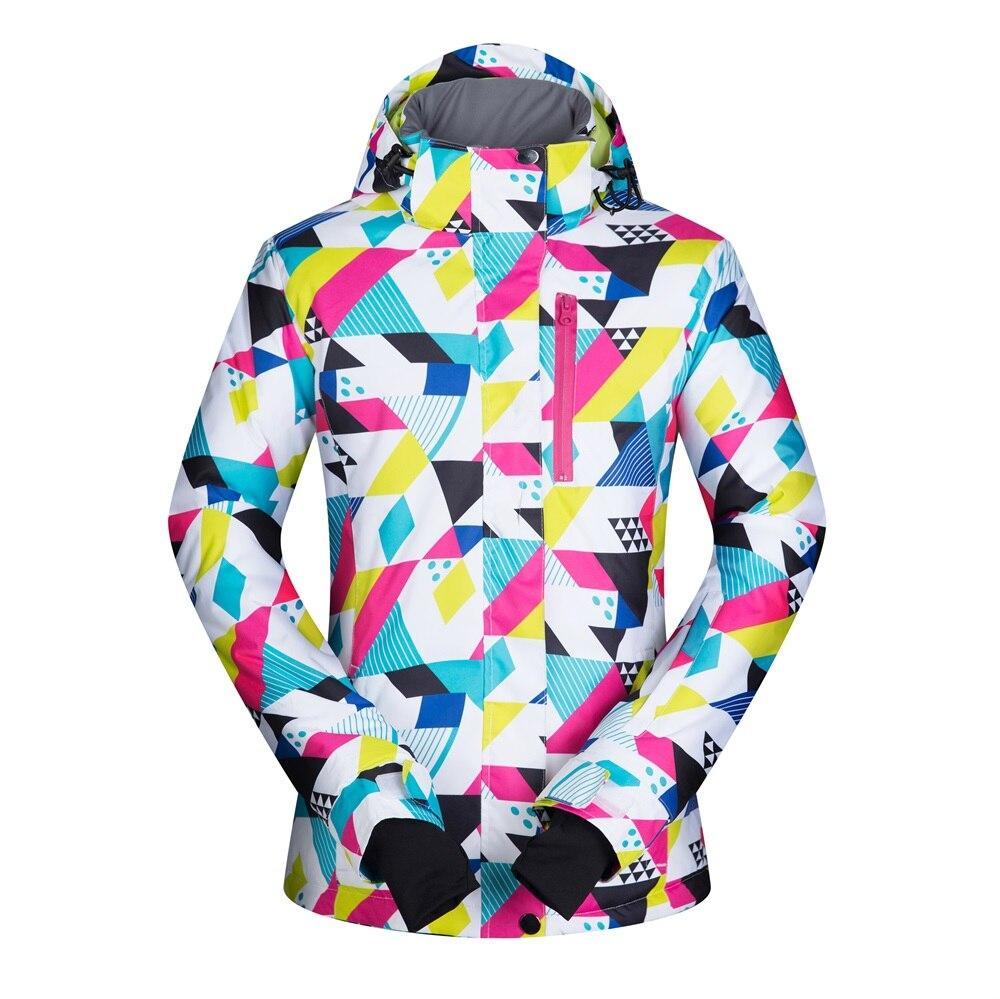 Prix pour 2016 Froid Hiver Femmes Snowboard Vestes Coupe-Vent Imperméable Respirant Femme Neige Manteaux Chaud Femelle Ski Vêtements