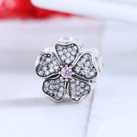 Real 925 Silver Authentic Luxury Flower Pave CZ Beads Fit DIY Pandora Charms Bracelet Silver 925