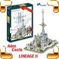 Nuevo regalo de la llegada Lineage 2 juego en línea Aden castillo 3D rompecabezas modelo de edificio de juegos de PC estructura colección bricolaje incorporado diversión juguete inteligente