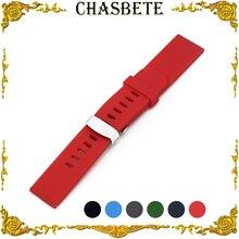 18 мм 20 мм 22 мм, силиконовая резина, ремешок для наручных петель, браслет, черный, синий, красный, зеленый