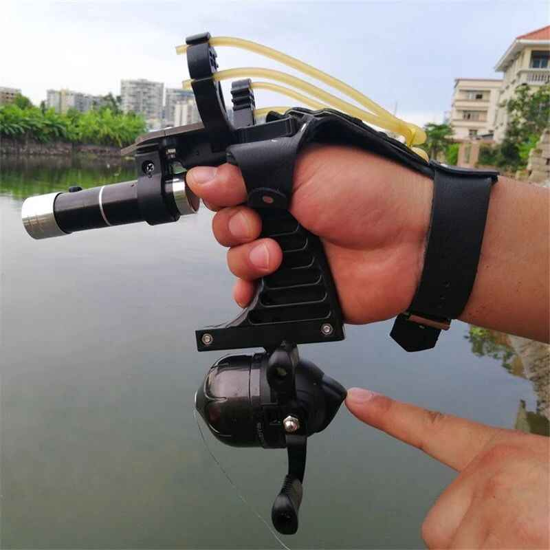 Powerful Fishing Slingshot Target Shooting Catapult Professional Hunter Hunting Slingshot with Fishing Darts outdoor tools