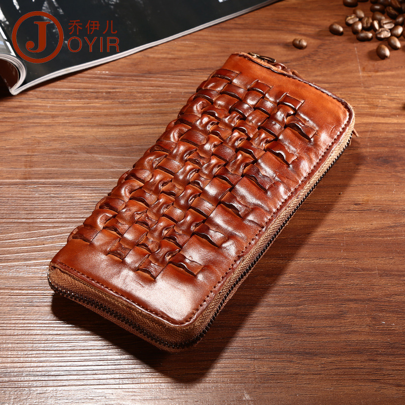New Design Genuine Real Leather Men Casual Wallet Cow Leather Vintage Handmade Plait Weave Long Fund Zipper Purse Good Quality genuine cow leather vintage men wallet fashion zipper