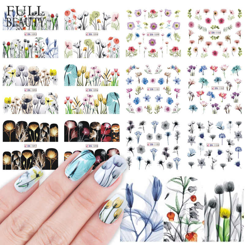 12 Type Watercolor Sticker on Nails Summer Full Flower Decals Nail Foils Transparent Daffodil Iris Hyacinth Decals CHBN1093-1104