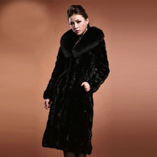 spring new genuine real natural mink fur ultra long fashion fur jacket  women longer Warmly  overcoat plus size