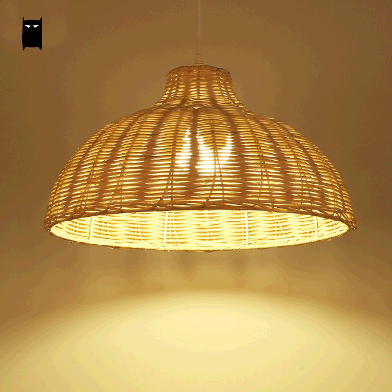 Round Natural Wicker Pendant Light Fixture Asia Japanese Rustic Primitive Hanging Lamp Luminaria Indoor Home Dining Table Room asia home кан джо традиционный столик