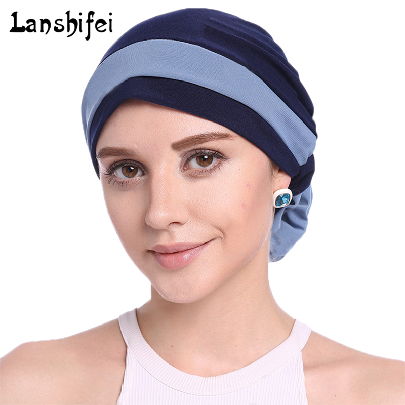 Women Splice Muslim Cap Flower Turban Hats Cancer Hair Loss Elastic Caps 2018 New Fashion Chemo Beanie Scarf Head Wrap Hats