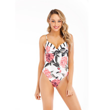 ECTIC One Piece Swimsuit Sexy Backless Swimwear Female Deep V-neck Flower Bikini White Print Bandage Bathing Suit Women Monokini